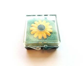 Vintage Ballouf Gold and Enamel Gerber Daisy Flower Pin Back, Scatter Pin in Original Box