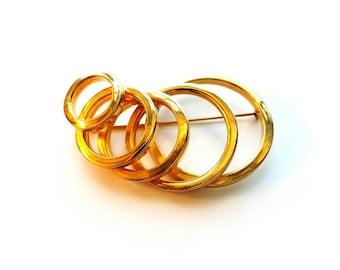 Vintage VENDOME Large Gold Modernist Graduating Circles Pin Brooch