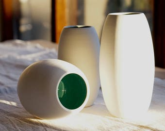 Tall White Vase, Set, Porcelain, Modern, Flower Vase