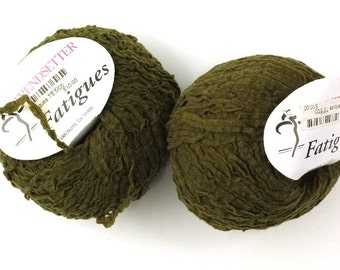 LOT OF 2 - Fatigues Olive, color 13, wool tape knitting yarn