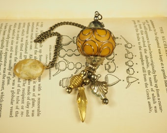 Gorgeous Ornate Dowsing Pendulum with gemstone - divination - Pagan, Wiccan, Witchcraft