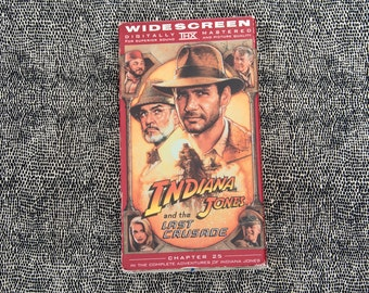 Indiana Jones And The Last Crusade Movie VHS Tape. Steven Spielberg. Harrison Ford Movie. Classic 1980s adventure VHS