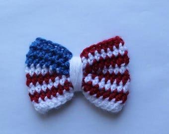 4th of July crochet bow, crochet headband, 4th of July crochet bows, crochet bow,