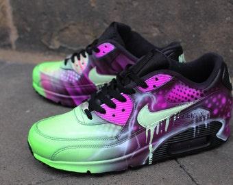 "Custom Nike Air Max 90 Pink Abstract Art Style Shoes Sneaker ""UNIKAT"" Airbrush Graffiti"