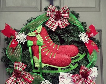 22 Inch Indoor Outdoor Ice Skates Winter Holiday Christmas Wreath with Snowflakes Bows Deco Mesh, Free Shipping