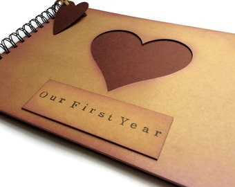 Rustic vintage style Kraft and burgundy card scrapbook memory album 'Our First Year'