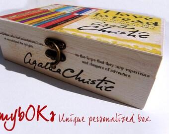 Agatha Christie box, Agatha Christie gift, Agatha Christie book box, unique Agatha Christie gift, Agatha Christie quotes box, Wood box gift