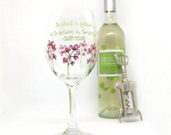 Flower Wine Glass, Hand Painted, Wine Glass, Audrey Hepburn Quote