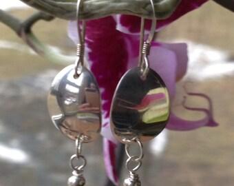 Simple Oval sterling silver dangle earrings