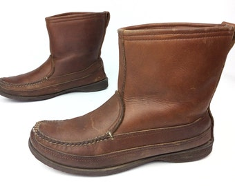 L.L. Bean LL Bean Maine Hunting Shoe Vintage Slip On Moccasin Toe Shearling Insulated Hunting Work Winter Boots Sz. 7