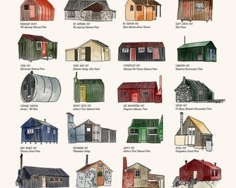 NZ Backcountry huts poster