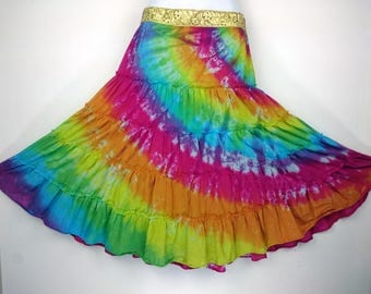 Rainbow skirt, Tie dye skirt, Festival skirt, Hippy skirt, Alternative skirt, Bohemian skirt, Gypsy skirt, Women's summer skirt