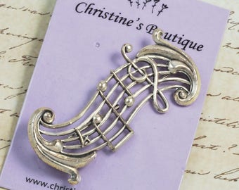 Vintage Muscial Note Sterling Silver Pin Signed Beau