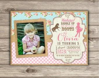 Horse Cowgirl Shabby Chic Country Birthday Photo Invitations Birthday NV7941