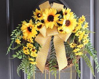 Spring Wreath, Summer Wreath, Everyday Wreath, Sunflower Wreath, Front Door Wreath, Grapevine Wreath, Rustic Wreath, Farm House Wreath