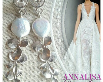 BRIDE-BRIDESMAID-WITNESS-IMPORTANT EVENT: EARRINGS WITH PEARLS AND SWAROVSKI