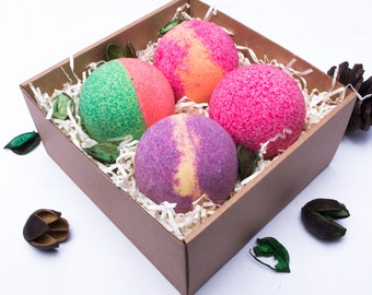 Fruit Blast bain bombe coffret cadeau - personnalisé - choyer - bain tremper - bain Fizz - fête des mères - cadeau d'anniversaire pour elle - professeur - Spa Kit