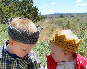 Crochet Crown, Princess Crown, Prince Crown, Costume Crown, Children's Accessory, Dress Up Crown, Imaginary Play, Crown Photo Prop