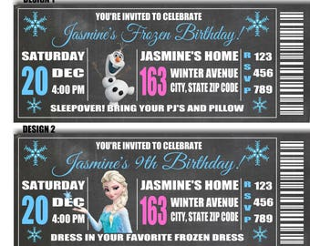 Printable Frozen Birthday Party Invitations Personalized Princess girl and boy Elsa Olaf Anna