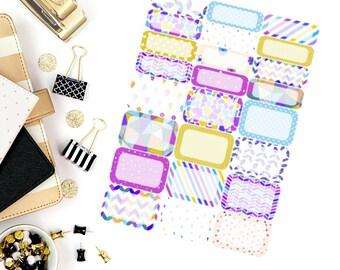 Colorful Party Half & Quarter Box Stickers! Perfect for your Erin Condren Life Planner, Paper Plum, Filofax!