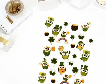 St. Patrick's Day Owl Stickers! Perfect for your Erin Condren Life Planner, calendar, Paper Plum, Filofax!
