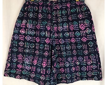 90's Hippie Wide Leg Shorts 1990's Watercolor Plaid Cool Tone Elastic Waist with Pockets M L Umbro Style