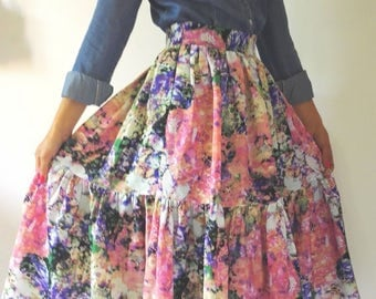 Summer skirt with ruffle curled, flared skirt with flowers, Midi skirt, Mini Skirt with Ruffles, floral skirt, women summer dress, summer dress