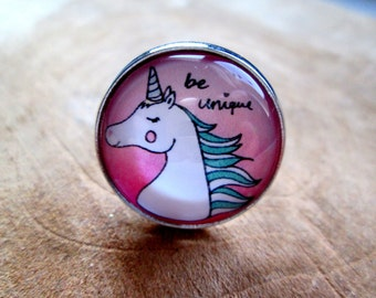 Ring 20mm Unicorn Unicorn be unique pink silver
