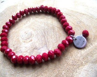 Bracelet red cut glass have you love love