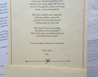 Personalised wedding letter, wedding day gift for her, wedding day gift, sentimental wedding gifts, paper first anniversary, bridesmaid gift