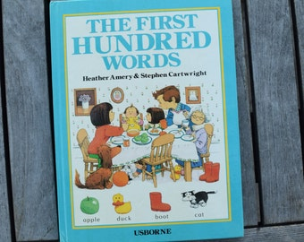Vintage The First Hundred Words by Heather Amery and Stephen Cartwright Usborne Hardcover Children's Book