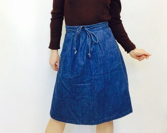 Denim wrap skirt | Etsy