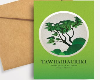 Tawhairauriki illustration in gouache. A6 greeting card with envelope – Native Trees of Aotearoa series.