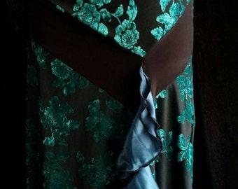 30s Style Retro Bias Cut Velvet Ruffle Skirt XL 14/16