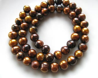 Fresh Water Pearls, 13 inch strand, 53 beads, 7mm, copper color, Jewelry supply B-1461