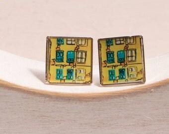 Mini earring square yellow