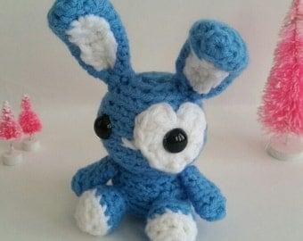 Mini Bunny Amigurumi Crochet Stuffed Toy in Blue and White