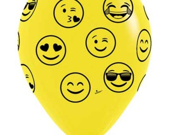 "Emoji Balloons, 11"", Latex Balloons, Yellow, Mixed Faces, Emoji Party, Emoticon, Balloons"