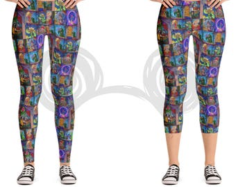 Beauty and the Beast Inspired Women's Leggings, Stained Glass Stretch Leggings / Capri