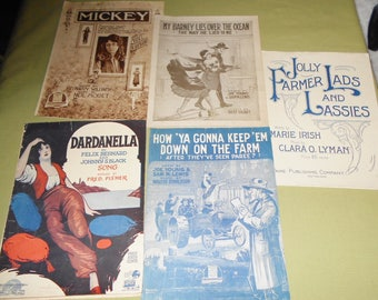 Sheet Music 1918 1919 Lot of 5 Mickey - Dardanella - My Barney  Down On The Farm