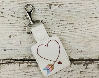 Arrow Heart Keychain - Ready to Ship - Bag Tag - Zipper Pull - Bag Accessory - Small Gift