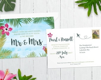 St Lucia / Caribbean Wedding Invitation, RSVP & Thank You Card