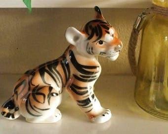Vintage LOMONOSOV Tiger Cub USSR pottery, Russian big cat figurine, well stamped, Russia ornament glossy sculpture, super gift.