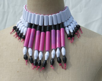 Statement necklace ;Paper bead necklace; African jewelry