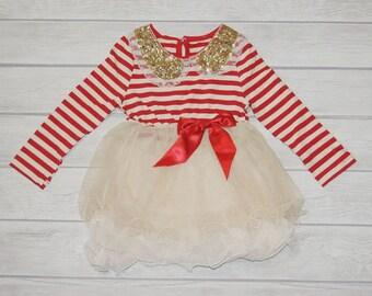 Girl christmas dress red gold dress baby girl Christmas dress
