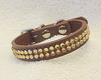 Swarovski Rhinestones Dog or Cat Collar, Gold Bling Pet Collar, XXS Brown Collar