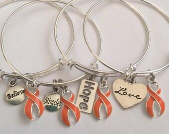 Bracelet with orange cancer ribbon/leukemia