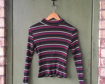 90's Vintage Striped Turtle Neck // Cropped Blouse Long Sleeves // 90's Grunge Sweater