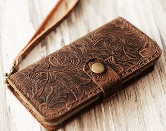 Wristlet iPhone 7 case iPhone 7 plus wallet case iPhone 7 cover iPhone 7 plus case wallet cover vintge look - Brown Pattern