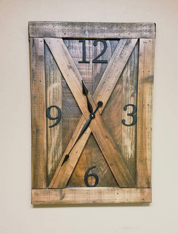 Reclaimed wood barn door farmhouse wall clock oversized wall for Oversized barn doors